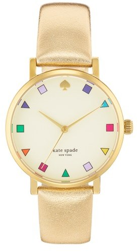 Kate Spade 'metro Patchwork' Leather Strap Watch, 34mm