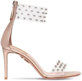 Aquazzura 85mm Illusion Studded Plexi Sandals