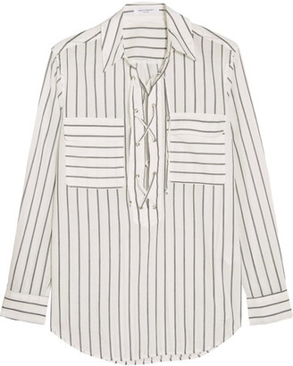 Equipment - Knox Lace-up Striped Cotton Shirt - Off-white $220 thestylecure.com
