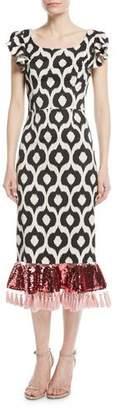 Sachin + Babi Scoop-Neck Batik Sequin Tassel Cocktail Dress