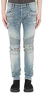 Balmain Men's Studded Distressed Skinny Moto Jeans - Lt. Blue