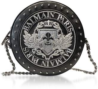 Balmain Black Soft Leather Disco Crossbody Bag W/silver Embroidered Blazon
