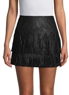 Highline Collective Fringed Faux Suede Mini Skirt