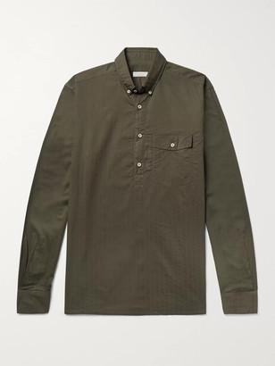 Incotex Slim-Fit Button-Down Collar Cotton Half-Placket Shirt