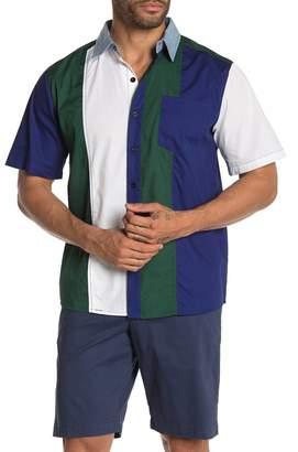 American Stitch Chambray Collar Striped Short Sleeve Shirt