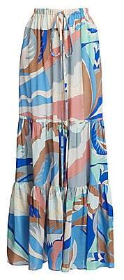 Emilio Pucci Women's Tiered Printed Maxi Skirt