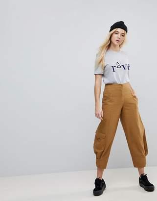 Asos Design MARGOT High Waist Canvas Pants in Tan