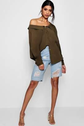 boohoo Drape Back Bardot Shirt