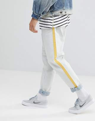 Asos Design Recycled Double Pleat Jeans In Ecru With Side Stripe