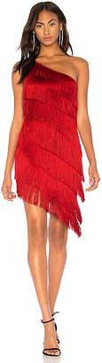 Norma Kamali Fringe One Shoulder Dress