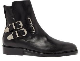 Toga Virilis Buckled Leather Ankle Boots - Mens - Black