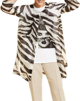 Marina Rinaldi Plus Size Filologo Zebra-Print Open-Front 3/4-Sleeve Jacket
