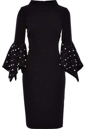 Faux Pearl-Embellished Crepe Dress