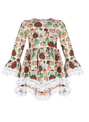 Mia Belle Girls Pumpkin Print Crochet Lace Bell Sleeve A-Line Tunic (Toddler, Little Girls, & Big Girls)