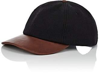 Crown Cap MEN'S WOOL-BLEND & LEATHER BASEBALL CAP - BLACK
