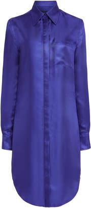 Brandon Maxwell Slit Hem Collared Silk Shirt Dress
