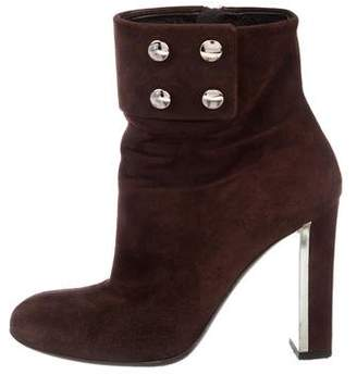 Gucci Suede Round-Toe Ankle Boots
