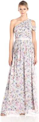 Donna Morgan Women's Printed One Shoulder Gown, Pink/Multi