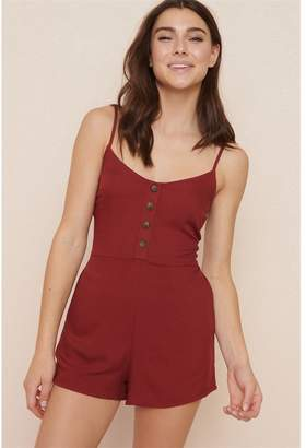 Garage Button Front Fit & Flare Romper