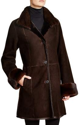 Maximilian Furs Maximilian Shearling Coat with Mink Collar & Cuffs