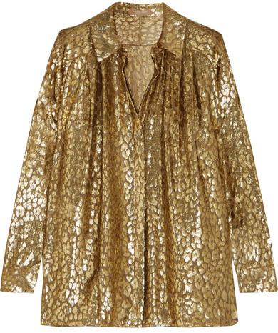 Michael Kors Collection - Metallic Fil Coupé Organza Shirt - Gold