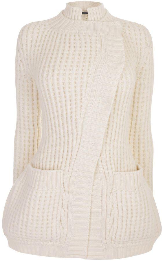 Alexander McQueen Chunky Waffle Knit Asymmetric Jacket