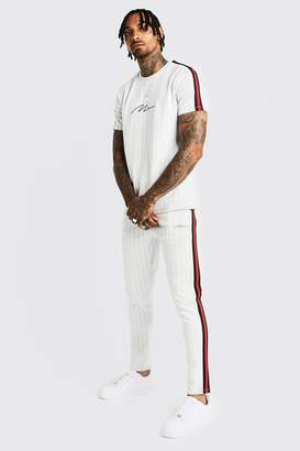boohoo MAN Signature Pinstripe T-Shirt & Tape Jogger
