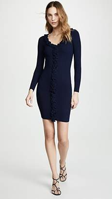 Milly Ruffle Trim Fitted Dress