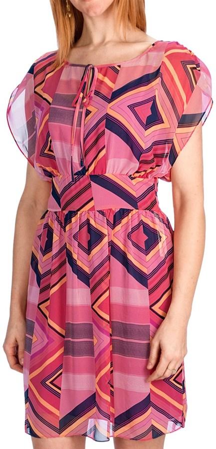Laundry by Design Spring Stripes Chiffon Dress - Short Sleeve (For Women)