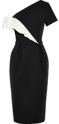 Carolina Herrera Cold-Shoulder Two-Tone Neoprene Dress
