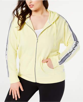 Calvin Klein Plus Size Vertical-Logo Zip Hoodie