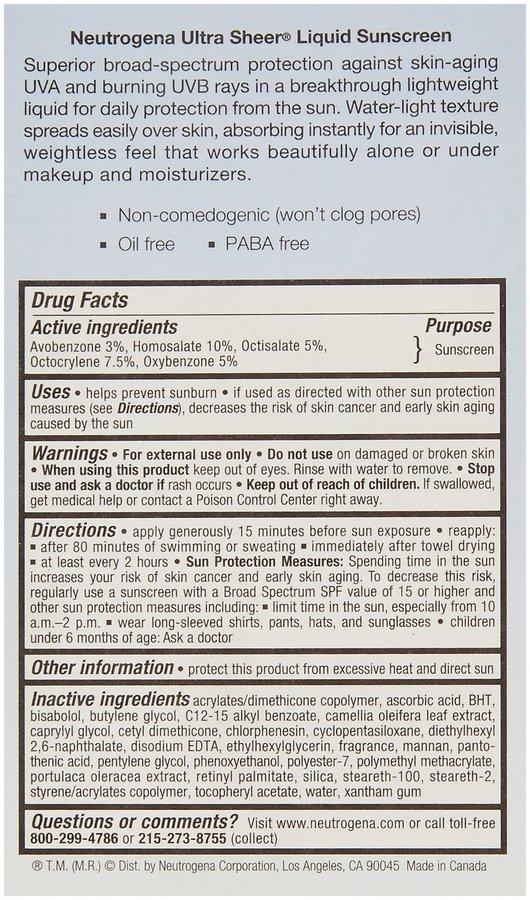 Neutrogena Ultra Sheer Sunblock Liquid SPF 70-1.4 oz, 2 pack