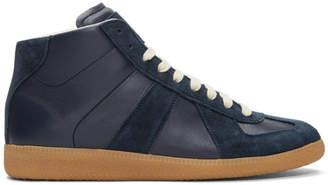 Maison Margiela Navy Replica Mid-Top Sneakers
