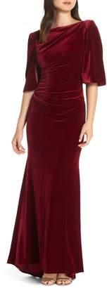 Eliza J Velvet Cape Gown