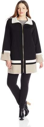 Jones New York Women's Plus-Size Hooded Zip Front Color Block