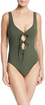 Karla Colletto Allure V-Neck Tie-Front Underwire Swimsuit