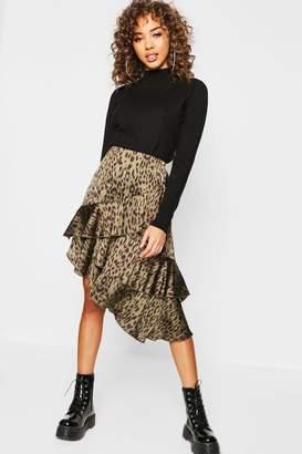 boohoo Satin Leopard Print Ruffle Midi Skirt