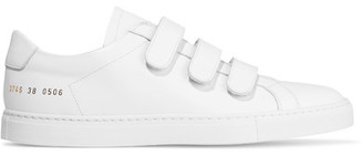 Common Projects - Achilles Three Strap Leather Sneakers - White $450 thestylecure.com