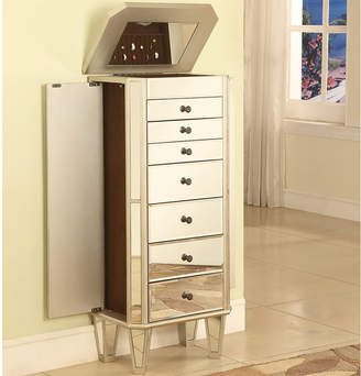 FINE JEWELRY Mirrored Jewelry Armoire with Silver-Tone Wood
