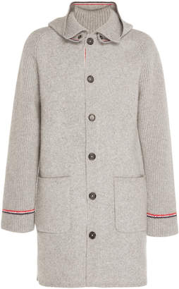 Thom Browne Wool and Cashmere-Blend Hooded Duffle Coat Size: 1