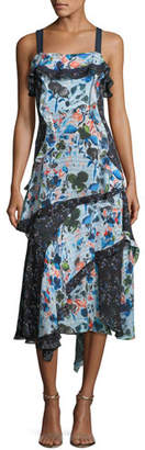 Tanya Taylor Watercolor Floral-Print Sleeveless Tiered Midi Dress