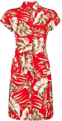 Dorothy Perkins Womens Petite Red Tropical Print Shirt Dress