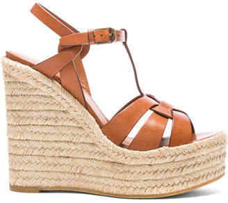 Saint Laurent Leather Espadrille Wedges