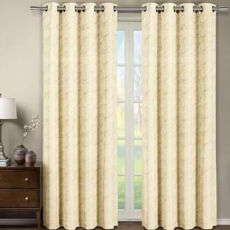 Three Posts Aledo Jacquard Geometric Semi-Sheer Grommet Curtain Panels