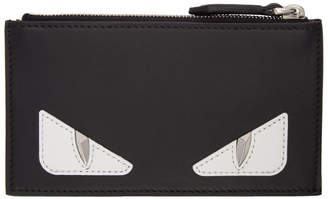 Fendi Black Bag Bugs Zip Card Slot Wallet
