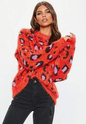 Missguided Orange Crew Neck Bold Animal Knit Sweater