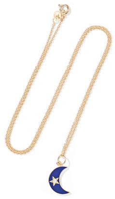 Andrea Fohrman Waxing Waning Crescent Moon 18-karat Gold, Enamel And Diamond Necklace