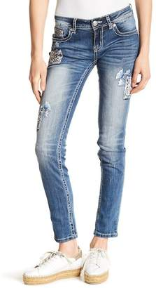 Grace In LA Denim Embroidered Skinny Jeans