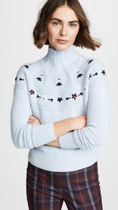 Autumn Cashmere Embroidered Mock Sweater