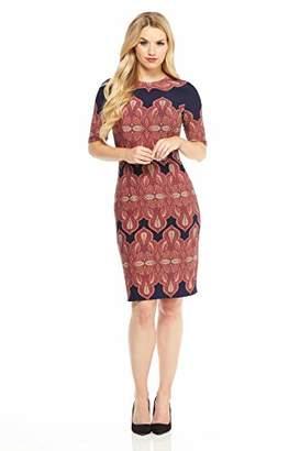 London Times Women's Elbow Sleeve Round Neck Matte Jersey MIDI Dress
